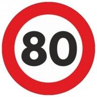 Indicator limitare viteza autocolant 80 km/ora Ø12