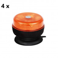 Pachet 4 girofaruri auto 12V/24V orange cu 8 LED-uri de 5W