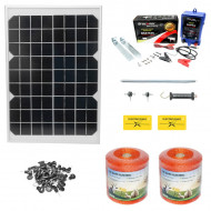 Kit complet gard electric 12/220V 1 Joule cu panou solar 10W