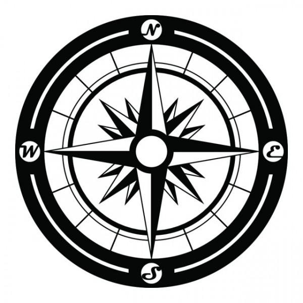 Busola puncte cardinale pe cerc