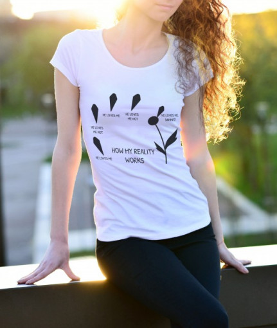 Imprimeu tricou HE LOVES ME, HE LOVES ME NOT