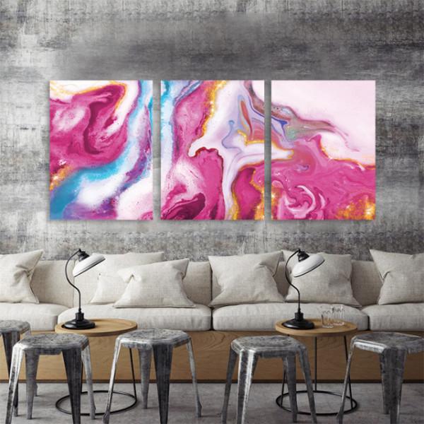 Set 3 tablouri - Pink marble