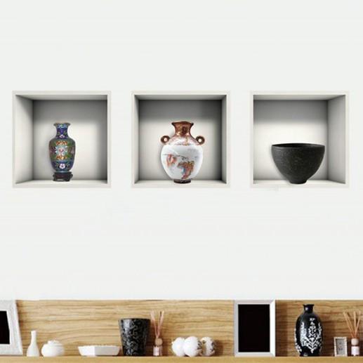 Sticker De Perete Firida Cu Ceramica Japoneza 3d