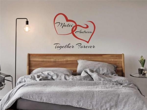 Sticker De Perete Inimi Cu Nume - Together Forever