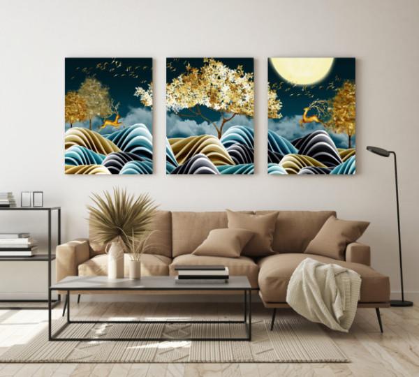 Tablou canvas - Natura stilizata artistic gold and green