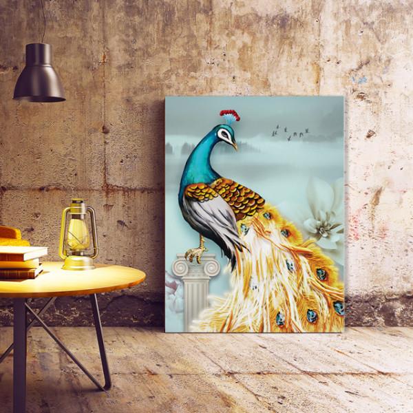 Tablou Canvas Paun cu Pene Aurii