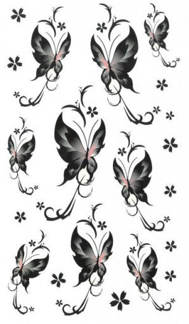 Tatuaj temporar -black butterflies- 17x10cm