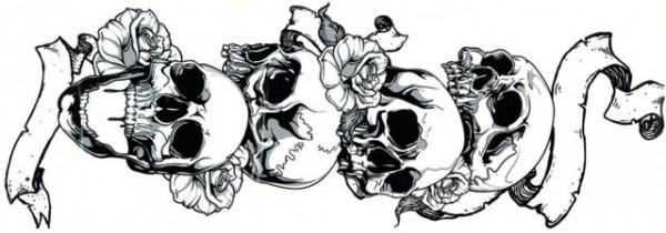 Tatuaj temporar Cap de Mort-Mana- 15X40cm