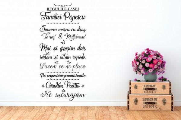 Sticker De Perete Regulile Casei Familiei