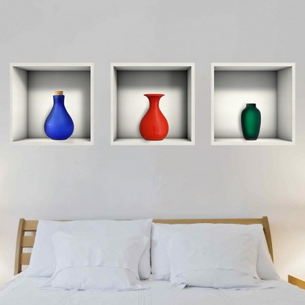 Sticker Decorativ Firide Cu Vaze Colorate 3d