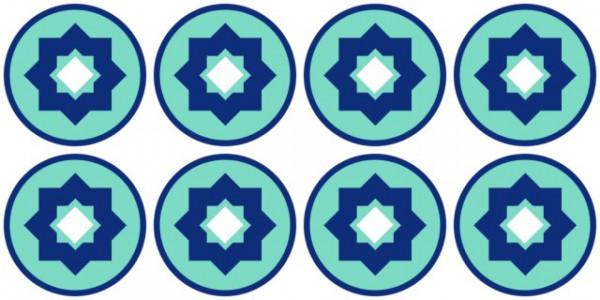 Sticker decorativ imitatie faianta model rotund