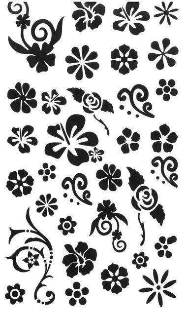 Tatuaj temporar -flori negre- 10x17cm