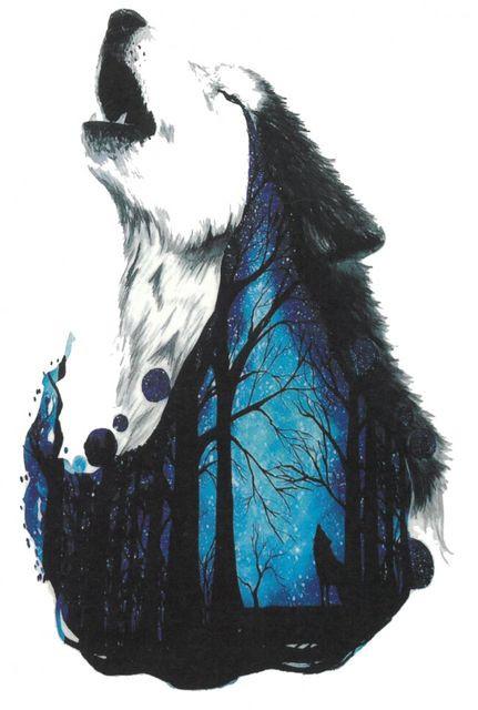 Tatuaj temporar -wolf in the forest- 17x10cm