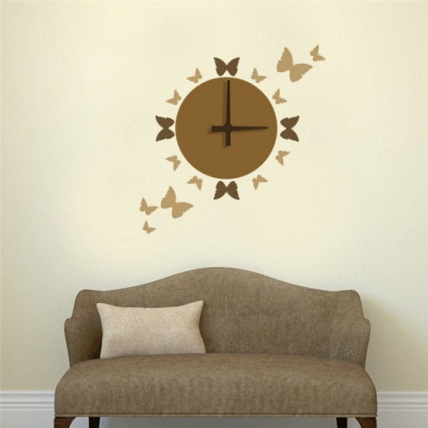 Sticker de Perete cu Ceas si Fluturi