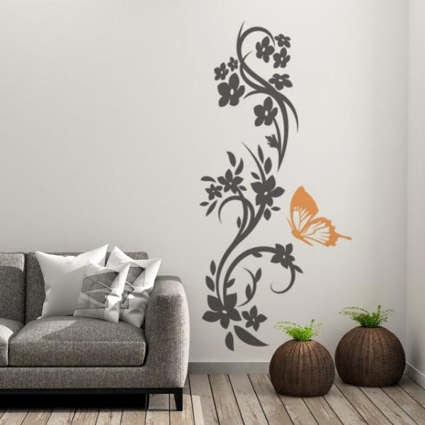 Sticker De Perete Ornament Floral Cu Fluture
