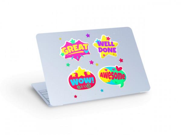 Sticker laptop well done, wow, awsome