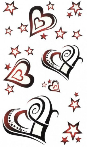 Tatuaj temporar -hearts and stars- 17x10cm