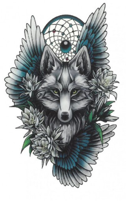Tatuaj temporar -wolf with wings- 17x10cm
