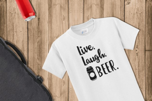 Imprimeu tricou LIVE, LAUGH, BEER. :)