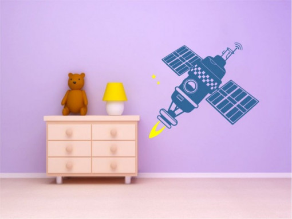 Sticker De Perete Satelit (In Doua Culori)