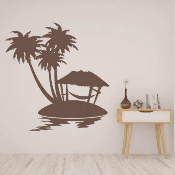 Sticker Palm Tree Scene Tropical Beach
