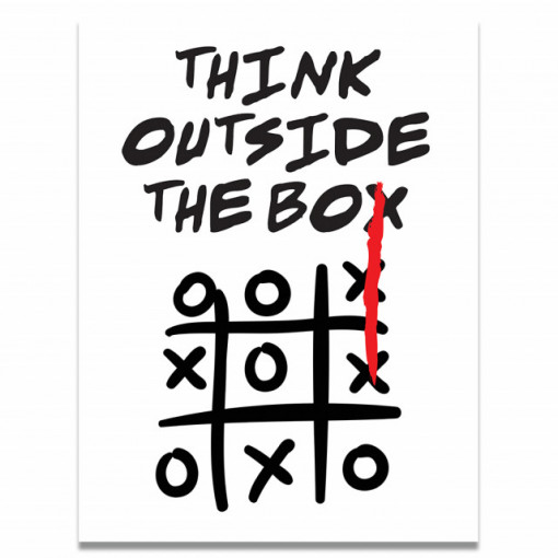 Tablou motivational - Think outside the box (tic tac toe)