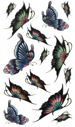 Tatuaj temporar -colorful butterflies- 17x10cm