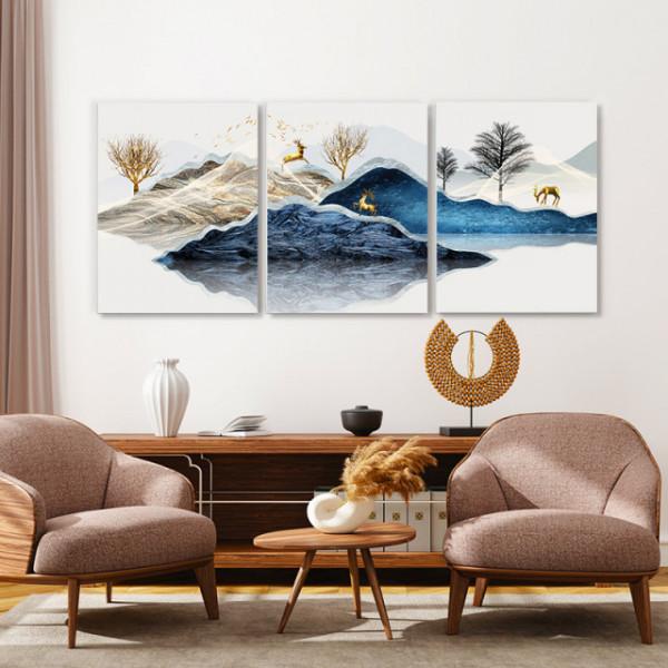 Set tablouri canvas - Blue misty mountains