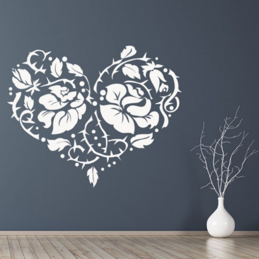 Sticker Love Heart Rose Flower