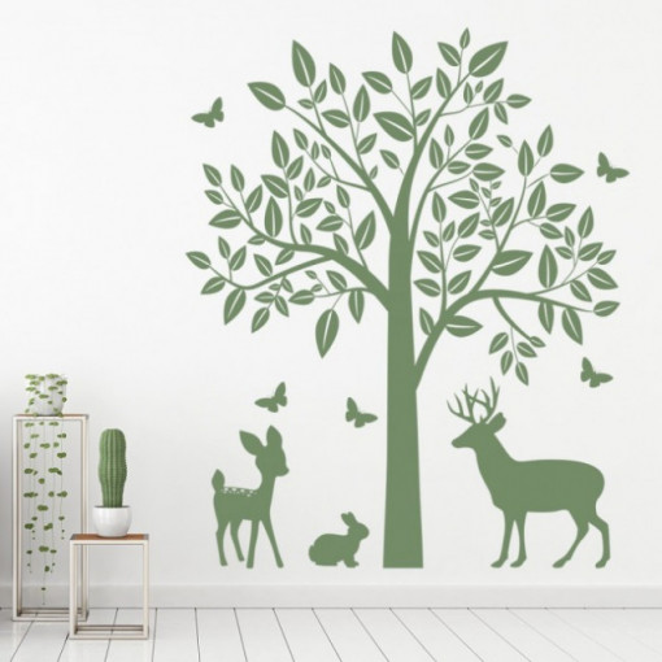 Sticker Woodland Animals Tree