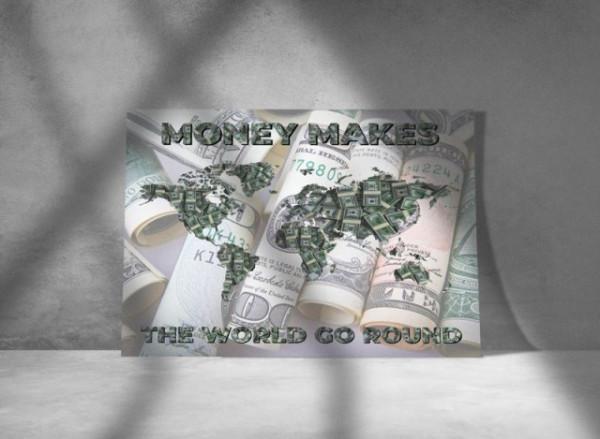 Tablou canvas - harta lumii din bani