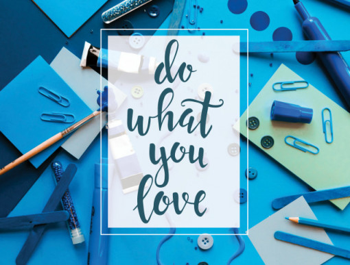 Tablou motivational - Do what you love (blue)