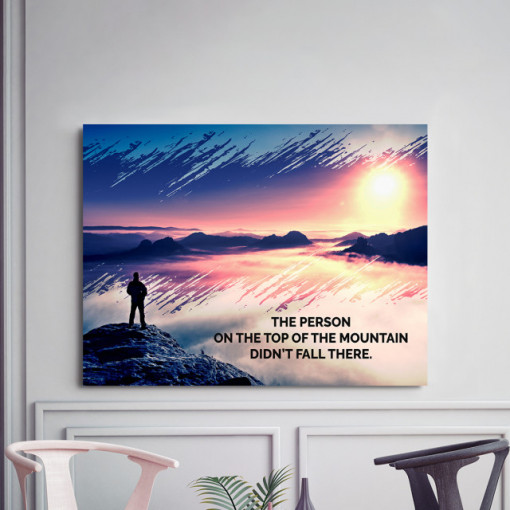 Tablou motivational - The person on the top of the mountain