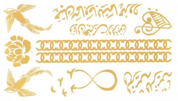 Tatuaj temporar -pasari aurii- 10x17cm