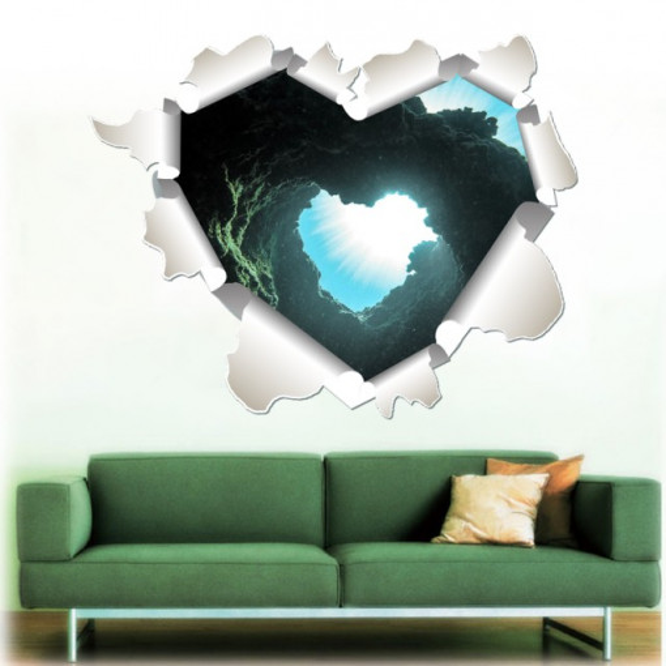 Sticker De Perete Inima Subacvatica 3d