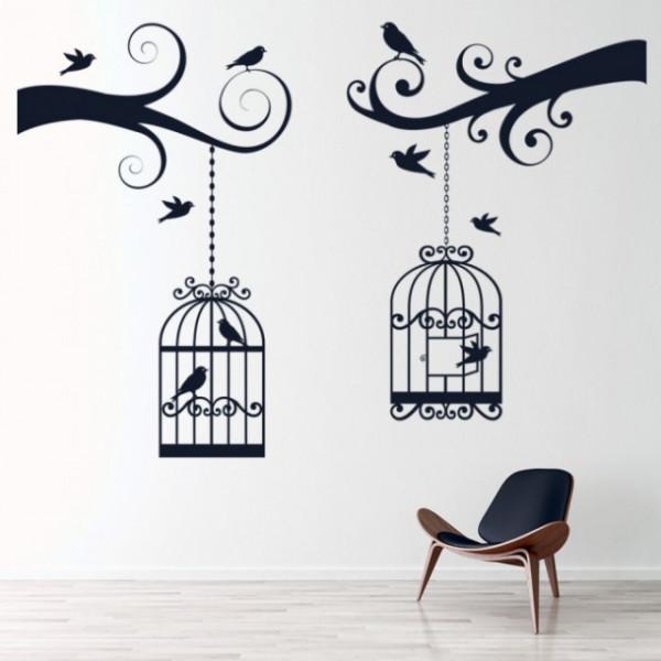 Sticker Tree Branch Bird Cage