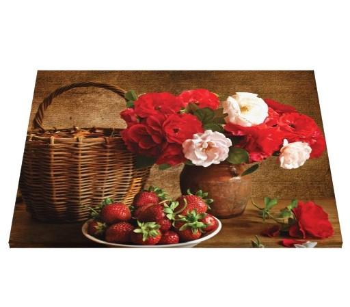 Tablou canvas - trandafiri si capsuni