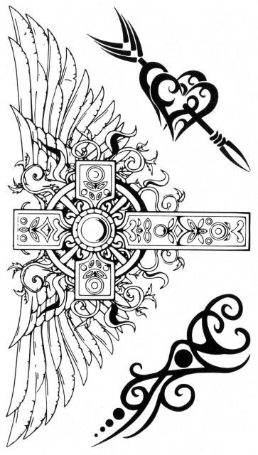Tatuaj temporar -Cruce cu aripi si elemente tribale- 17x10cm