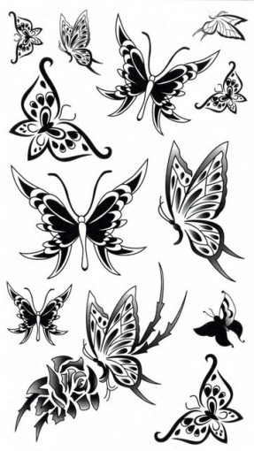 Tatuaj temporar -fluturi- 17x10cm