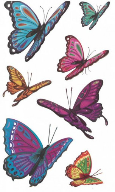 Tatuaj temporar -fluturi colorati- 10x17cm