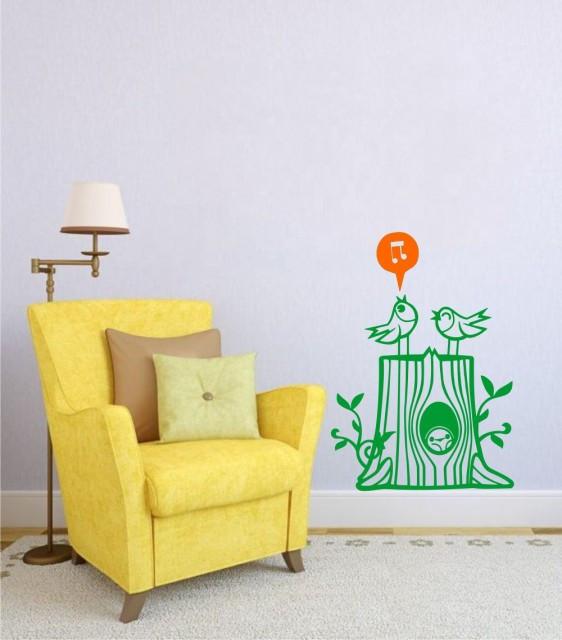 Trunchi de copac cu pasari (in doua culori)