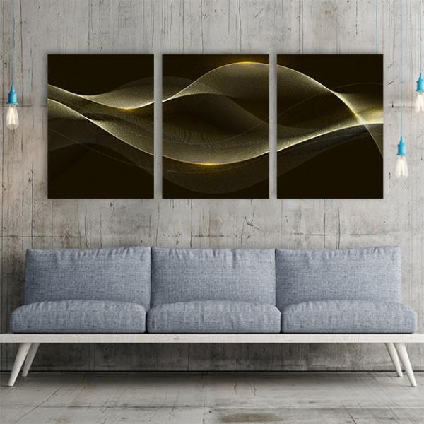 Set 3 tablouri - Golden waves