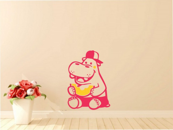 Sticker De Perete Hipopotam Cu Pepene (In Doua Culori)