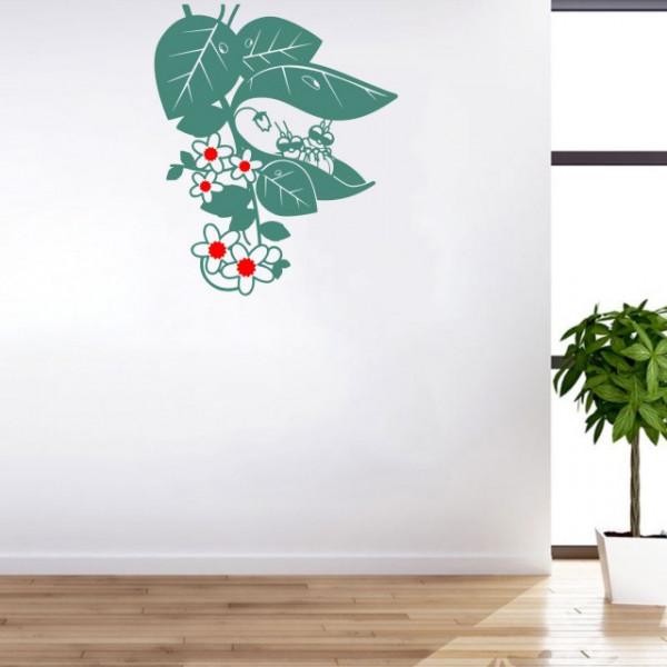 Sticker De Perete Insecte In Frunze (In Doua Culori)