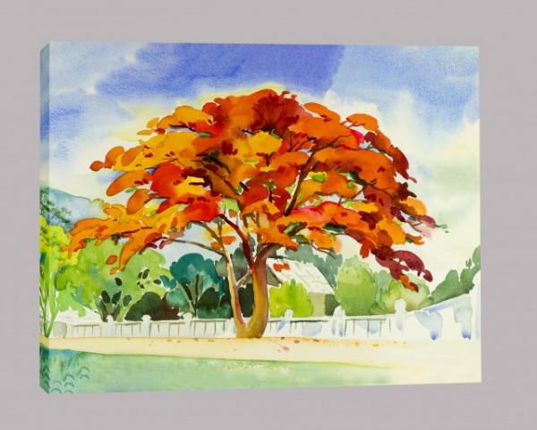 Tablou Canvas Efect Pictura Pom Cu Frunze Ruginii