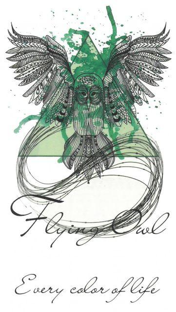 Tatuaj temporar -flying owl- 10x17cm