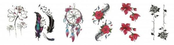 Set 6 tatuaje temporare -flori si pene- 9x5cm