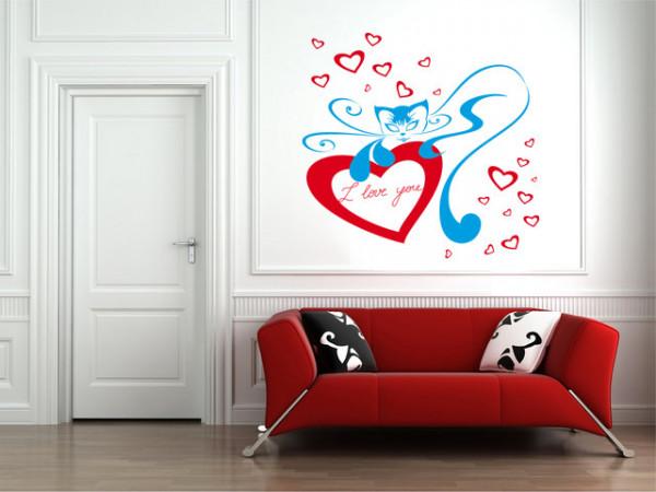 Sticker De Perete Pisica Cu Inima