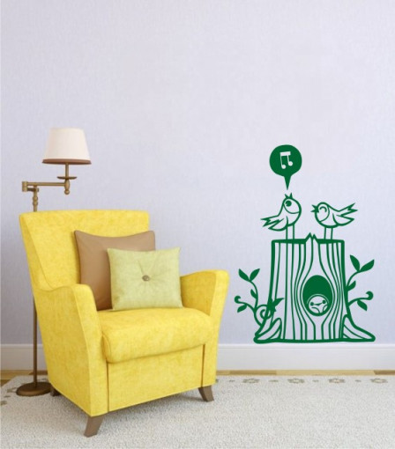Sticker De Perete Trunchi De Copac Cu Pasari