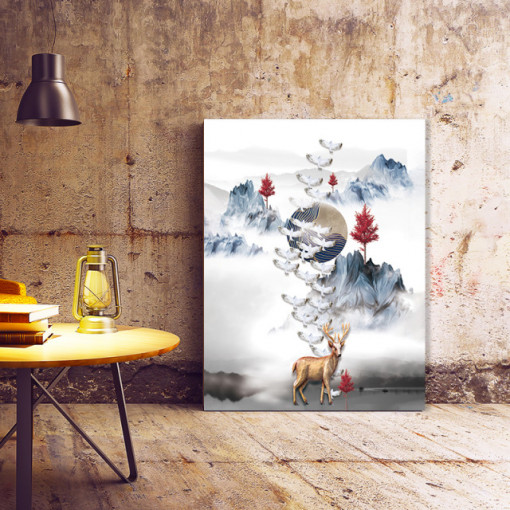 Tablou Canvas White doves and deer